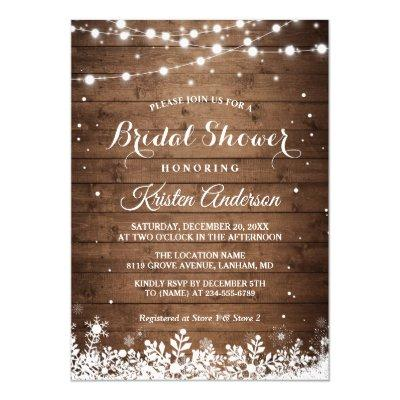 Rustic String Light Snowflake Winter Bridal Shower