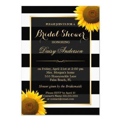 Rustic Sunflower Black White Stripes Bridal Shower