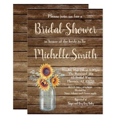 Rustic Sunflower Country Floral Wood Bridal Shower