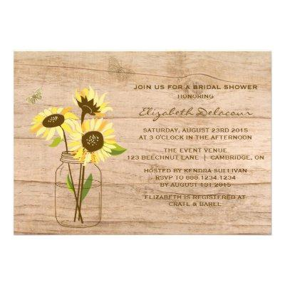Rustic Sunflowers Bridal Shower Invitations