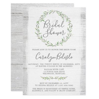 Rustic Wood Green Wreath Bridal Shower