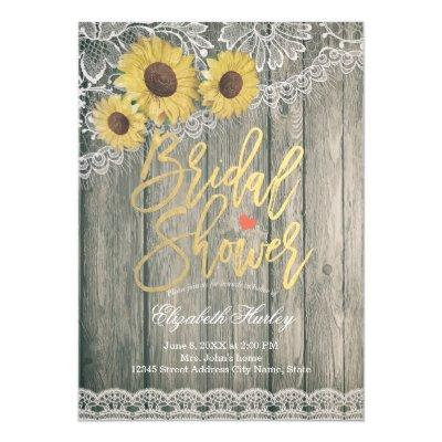 Rustic Wood Vintage Sunflowers Lace Bridal Shower