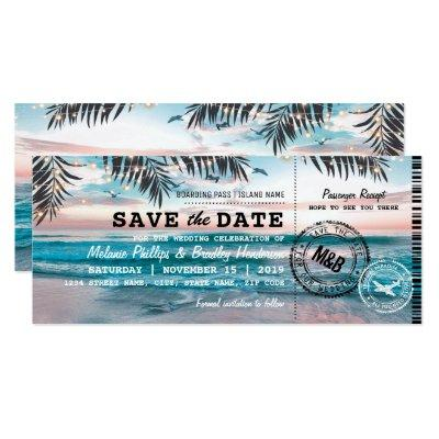 Save the Date Tropical Beach Lights Boarding Pass