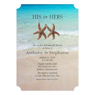 "Sea and Sand Couple's Wedding Shower 5"" X 7"" Invitation"