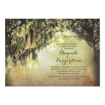"string lights rustic tree vintage bridal shower 5"" x 7"" invitation"