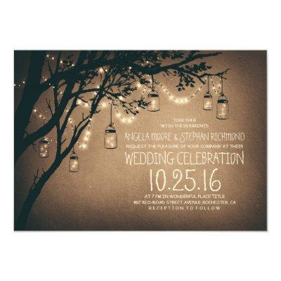 string of lights mason jars vintage wedding personalized announcements