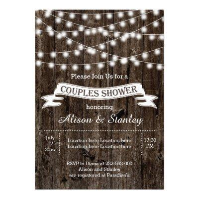 String of lights, old wood wedding couples shower custom