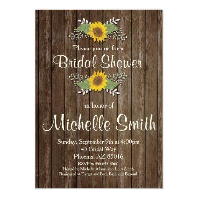 Sunflower Bridal Shower Invitation, Rustic, Floral