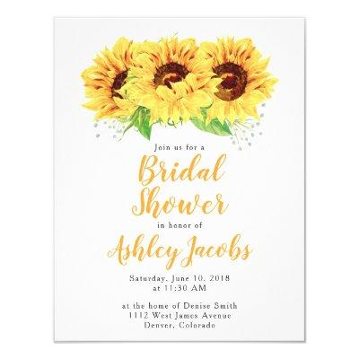 Sunflower Bridal Shower  Watercolor
