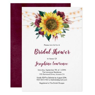 Sunflower Burgundy Rose Lights Bridal Shower