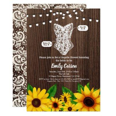 Sunflower lingerie shower  rustic wood