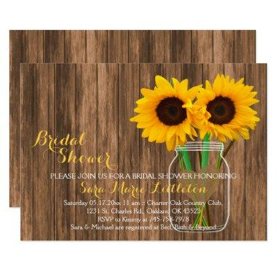 Sunflower Mason Jar Bridal Shower Invites