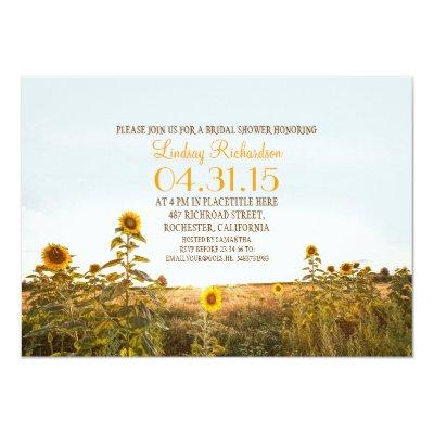 Sunflowers country rustic bridal shower invite