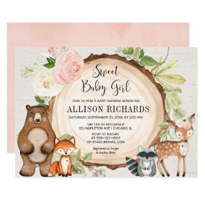 Sweet baby girl floral rustic woodland baby shower