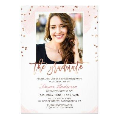 Trendy Rose Gold Graduate Photo Graduation Party
