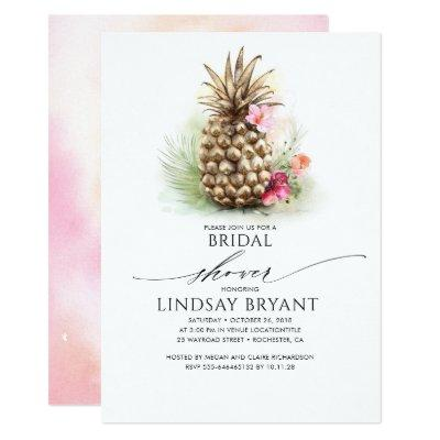 Tropical Gold Pineapple Beach Floral Bridal Shower