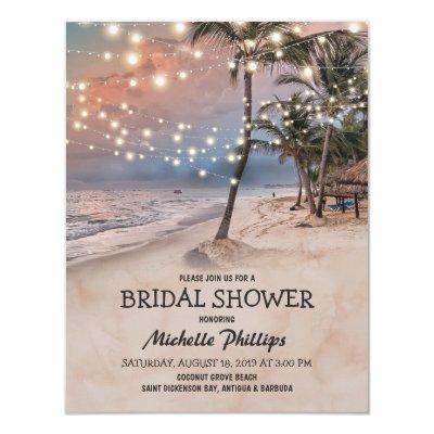 Tropical Vintage Beach String Lights Bridal Shower