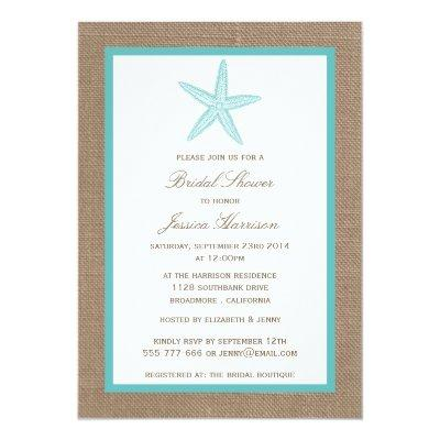 Turquoise Starfish Beach Burlap Bridal Shower