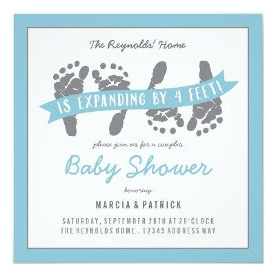 Twin Boys Couples Shower  Blue Grey