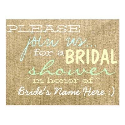Vintage Burlap Country Bridal Shower Invitation Post