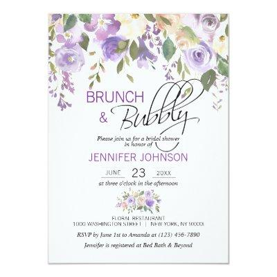 Watercolor Floral Lavender Purple Bridal Brunch