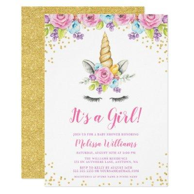 Watercolor Floral Unicorn Baby Shower