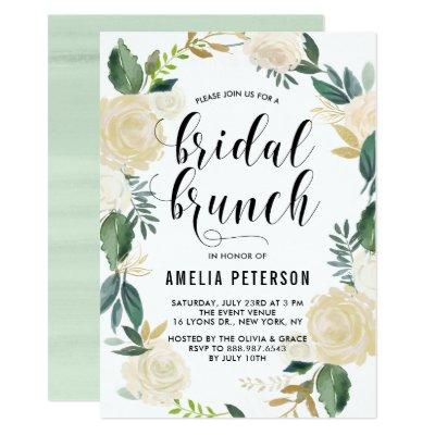 Watercolor Flowers with Gold Glitter Bridal Brunch