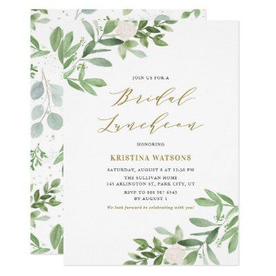 Watercolor Greenery and Flowers Bridal Luncheon
