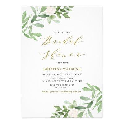Watercolor Greenery and Flowers Bridal Shower