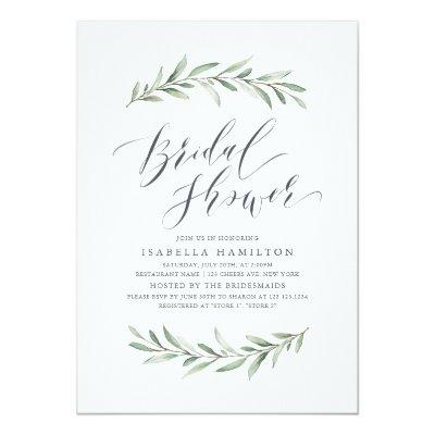Watercolor greenery calligraphy bridal shower