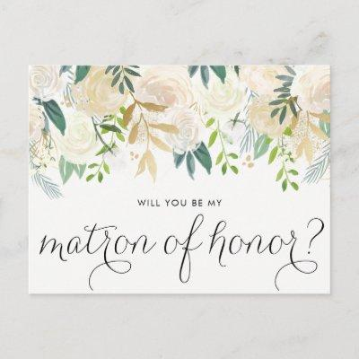 Watercolor Peonies Will You Be My Matron of Honor Invitation Post