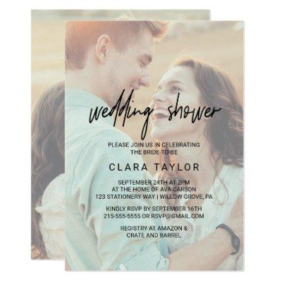 Whimsical Calligraphy | Faded Photo Wedding Shower