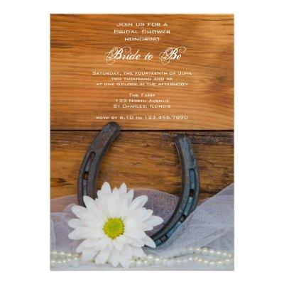 White Daisy and Horseshoe Country Bridal Shower Custom Invites