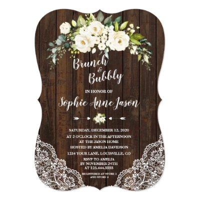 White Floral Wood Brunch and Bubbly Bridal Shower