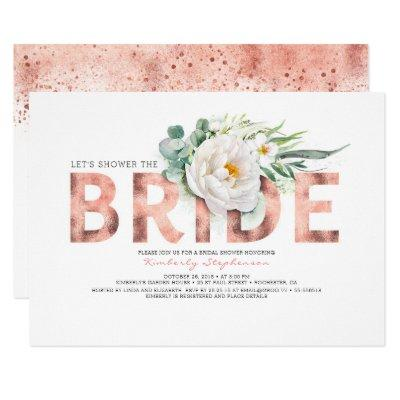 White Flowers Rose Gold and Greenery Bridal Shower