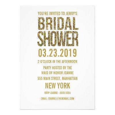 White Gold Glitter Typography Bridal Shower Invite