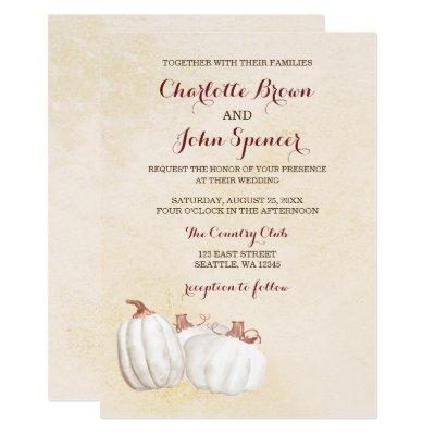 white pumpkins fall harvest wedding invites