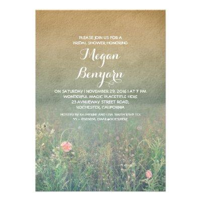 wildflowers vintage bridal shower invites