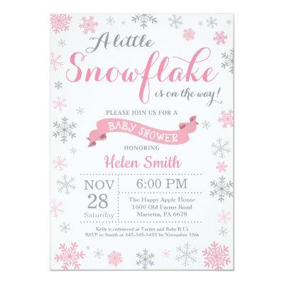Winter Baby Shower  Pink Snowflake