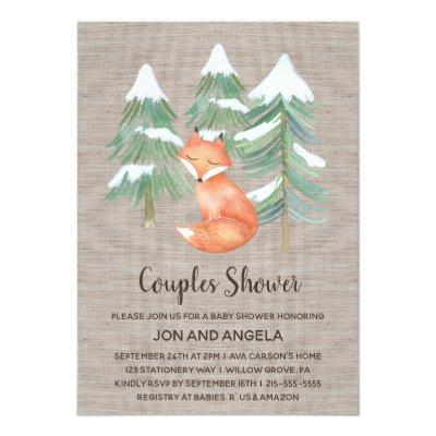Winter Woodland Fox Couples Baby Shower