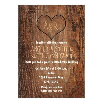 Wooden Tree Carved Heart Rustic Wedding
