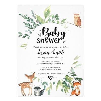 Woodland Baby Shower  Animals Greenery