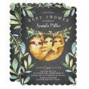 Adorable Chalkboard Sloth Twins Baby Shower Invitation