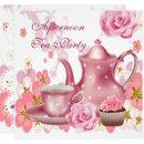 Afternoon Tea Party Vintage Pink Rose Teapot Invitation