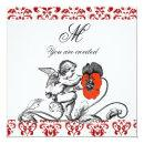 ANGEL PAINTING A RED FLOWER DAMASK MONOGRAM