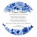 Asian Influence Sky Blue Floral Dinner Menu Invitation