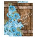Baby Blue Flowers on Rustic Wood - Bridal Shower