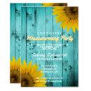 Barnwood Rustic Sunflowers Teal Housewarming Party Invitation