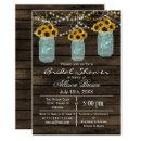 Barnwood sunflowers mason jar rustic bridal shower