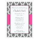 Black and Pink Damask Bridal Shower Invitations